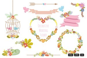 Decorative Wedding Flower Vector