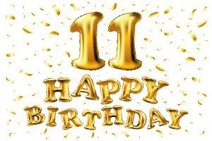 happy birthday 11 gold balloon