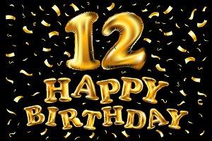 happy birthday 12 gold balloon