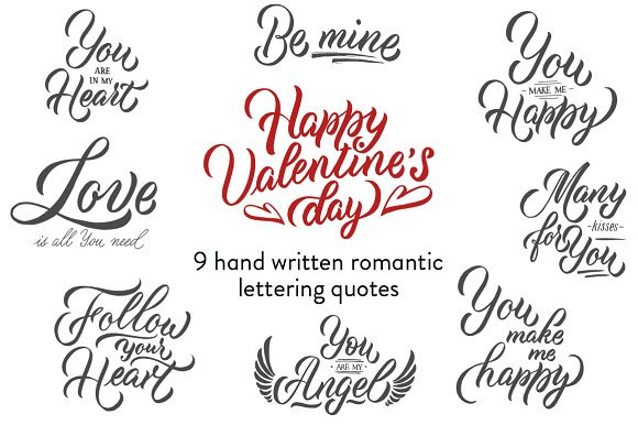 Valentine S Day Lettering Collection Illustrations Creative Market