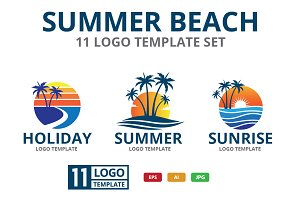 SUMMER BEACH theme logo set