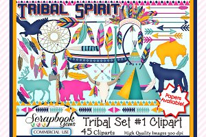 TRIBAL CLIPART, Set 1, 45 images