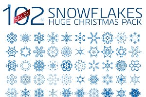 102 abstract Christmas snowflakes