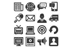 News Media Icons Set