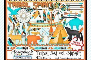 TRIBAL CLIPART, Set 3, 45 images
