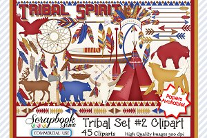 TRIBAL CLIPART, Set 2, 45 images