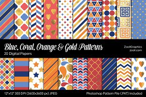 Blue, Coral, Orange & Gold Papers