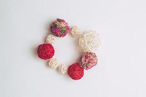 Frame of pink balls