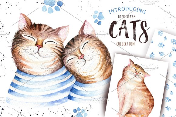 Watercolor cats collection in Illustrations
