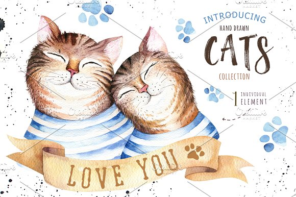 Watercolor cats collection in Illustrations - product preview 1