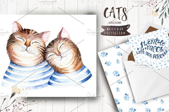Watercolor cats collection in Illustrations - product preview 4