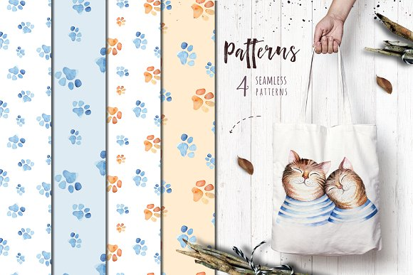 Watercolor cats collection in Illustrations - product preview 5