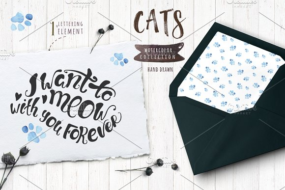 Watercolor cats collection in Illustrations - product preview 6