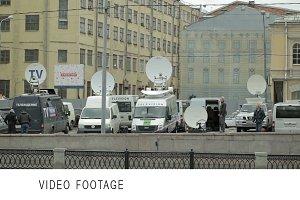 Parked satellite TV van