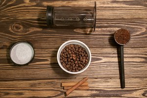 Preparation of coffee in aeropress