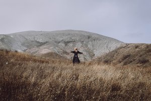 Girl in Scandinavian landscape