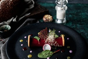 Pate of duck liver in raspberry