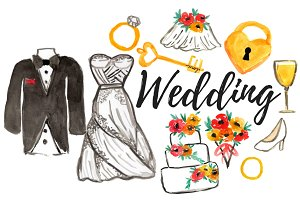 Waterolor Wedding Clipart