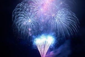 Blue fireworks on the black sky
