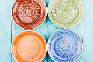 Colored ceramic plates