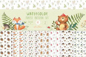 Watercolor forest pattern set