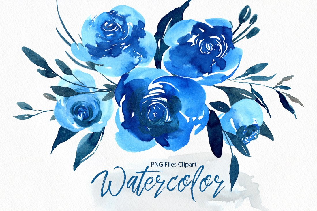 Watercolor Blue Roses Flowers PNG