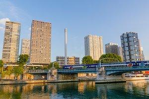 Modern buildings near the river