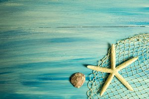 Sea star and shell on blue desk
