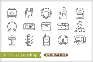 Minimal roadtrip icons