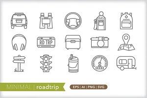 Minimal roadtrip icons