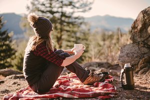 Girl Hiker with Coffee