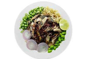 rice with fried mackerel mix