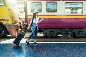 Asia woman Traveller walking