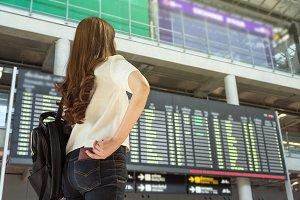 Closeup Asian woman traveler