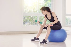 fitness room, sport girl concept