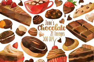 Watercolor Chocolate Clipart