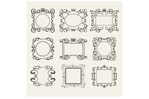 Frame. Hand drawn. Vector set