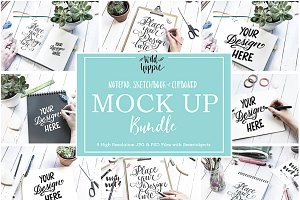 9 Sketchbook Notepad Flatlay Mockups