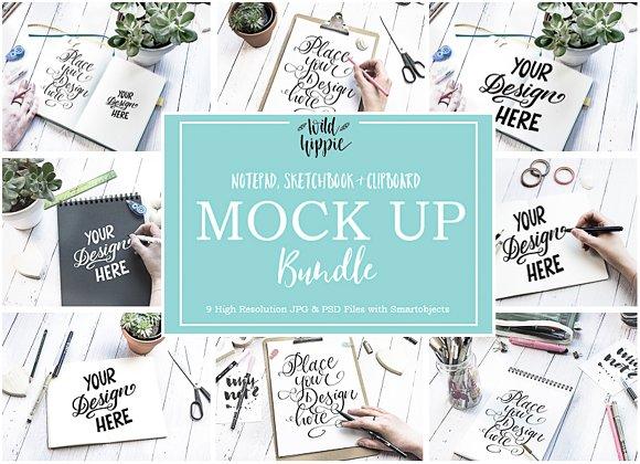 9 Sketchbook Notepad Flatlay Mockups