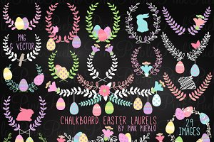 Chalk Easter Laurel Clipart Vectors