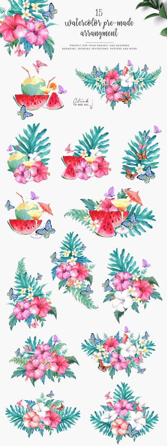 Hibiscus Watercolor Clip Art Set in Illustrations - product preview 1