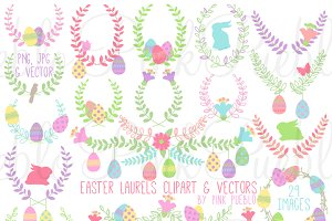 Easter Laurels Clipart and Vectors