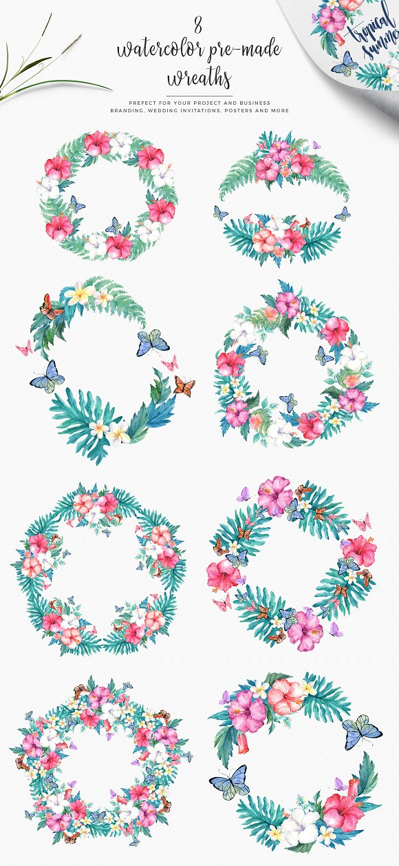 Hibiscus Watercolor Clip Art Set in Illustrations - product preview 2