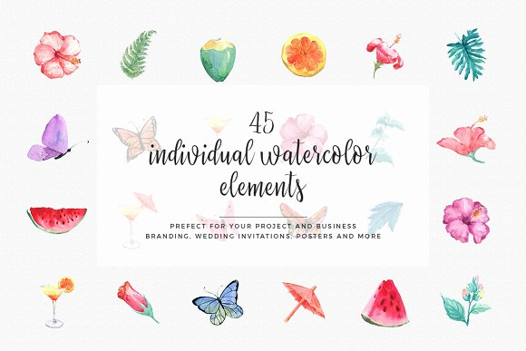 Hibiscus Watercolor Clip Art Set in Illustrations - product preview 4