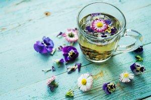 herbal tea with edible flowers, back