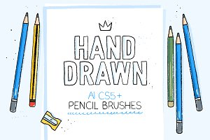 AI hand drawn pencil brushes