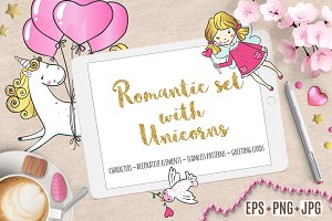 Romantic set with Cute Unicorns