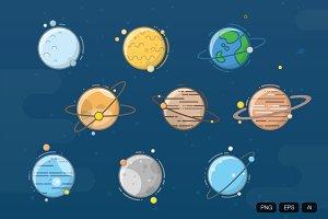 9 Planet Flat Icon