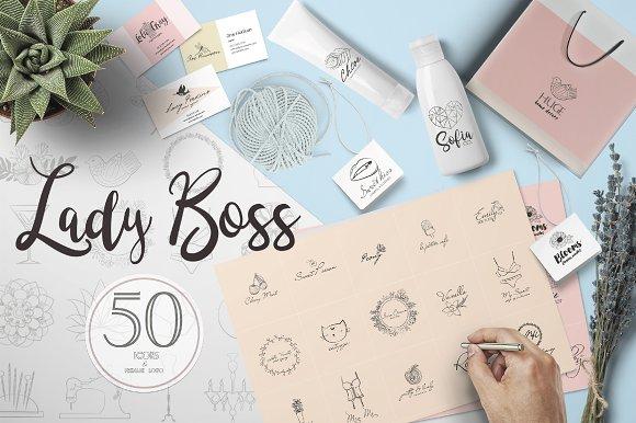 lady boss premade logo template logo templates creative market