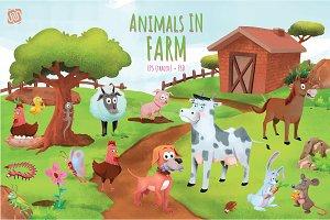 Cute Farm Animals (EPS & PSD)